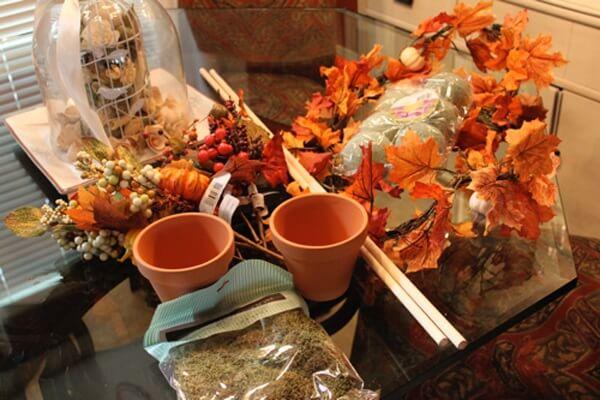 как сделать ториарий из листьев осенью