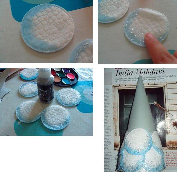 Поделки ёлок своими руками из ватных дисков