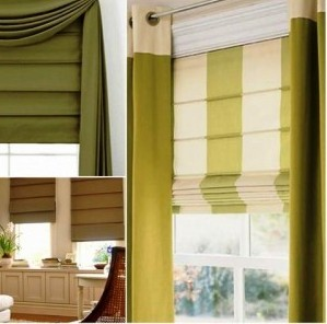 кухонные шторы-компаньоны болотного цвета на люверсах