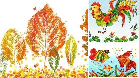 примеры поделок из листьев